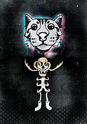 Human Skeleton Digital Art - Spooky Cat Hologram by Steven Silverwood