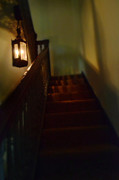 Haunted House Posters - Spooky Dark Stairway Poster by Jill Battaglia