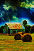 Bale Digital Art Metal Prints - Spooky Hay Field Metal Print by Bill Tiepelman
