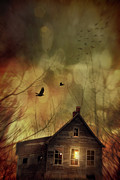 Haunted Woods Framed Prints - Spooky house at sunset  Framed Print by Sandra Cunningham