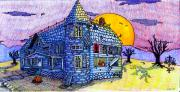 Full Moon Drawings Prints - Spooky House Print by Jame Hayes