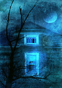 Run Down Posters - Spooky House with Moon Poster by Jill Battaglia