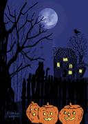 Halloween Card Prints - Spooky Night Print by Arline Wagner