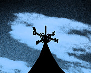 Bird On A Wind Vane Prints - Spooky Silhouette Print by Al Powell Photography USA