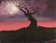 Spooky Scene Paintings - Spooky Tree by Janet Greer Sammons