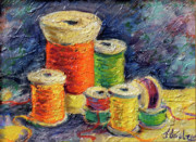 Sewing Supplies Posters - Spools of Thread Poster by Jean Groberg