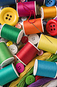 Mending Metal Prints - Spools of thread with buttons Metal Print by Garry Gay