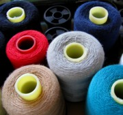 Yarn Prints - Spools of Yarn Print by Yali Shi