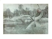 Spoon Drawings Prints - Spoon Bridge and Cherry Print by Grace Helstern