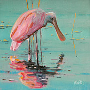 Spoonbill Paintings - Spoonbill by Donald Maier