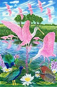 Florida Flowers Drawings - Spoonbill Heaven by Tim McCarthy