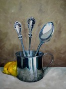 Sterling Silver Acrylic Prints - Spoons Lemons and a Baby Cup Acrylic Print by Amy Higgins