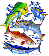 Pelagic Fish Prints - Sportfish Collage Print by Carey Chen