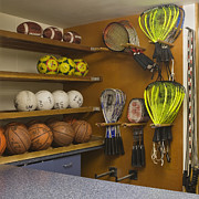 Basketballs Framed Prints - Sports Equipment Display Framed Print by Andersen Ross