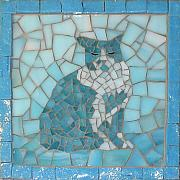 Cats Glass Art - Spot by Christine Brallier