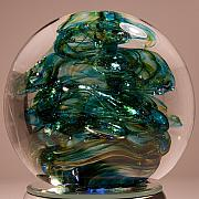 Amber Glass Art - Spot of Teal by David Patterson