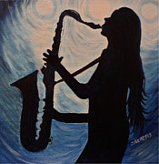 Soul Musicians Paintings - Spotlight on the Blues by Julie Brugh Riffey