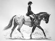 Dressage Drawings - Spotted Elegance by Rachel Hessinger