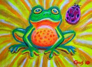 Frog Artwork Prints - Spotted frog and ladybug Print by Nick Gustafson