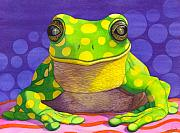 Green Frog Prints - Spotted Frog Print by Catherine G McElroy
