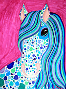 Horse Drawings - Spotted Horse by Nick Gustafson