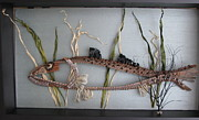 Pine Needles Sculpture Originals - Spotted Sea Trout by Beth Lane Williams