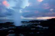 Blowhole Posters - Spouting Horn Sunset Poster by Mike  Dawson
