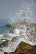 Ocean Spray  Posters - Spray On The Rocks Poster by Deborah Benoit
