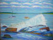 Atlantic Ocean Pastels Metal Prints - Spray over rocks Metal Print by Rae  Smith PSC