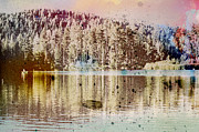 Odd Pyrography Prints - Sprayscape Lake Print by Stephen Sly