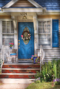 Old Lady Framed Prints - Spring - Door -  A Bit of Blue  Framed Print by Mike Savad