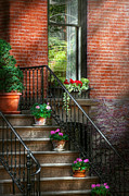 Red Geraniums Photo Prints - Spring - Porch - Hoboken in Spring Print by Mike Savad