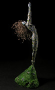 Black Background Mixed Media Framed Prints - Spring a sculpture by Adam Long Framed Print by Adam Long