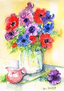 Anemones Paintings - Spring Anemones by Val Stokes
