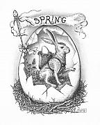 Pen And Ink Drawing Framed Prints - Spring Arrives Framed Print by Adam Zebediah Joseph