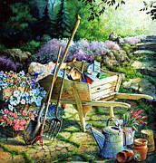 Garden Tools Prints - Spring At Last Print by Hanne Lore Koehler