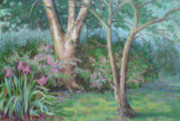 Park Scene Pastels Originals - Spring Be Now Sweet by Julie Mayser