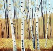 Birch Trees Paintings - Spring Birches by Linda Tenukas