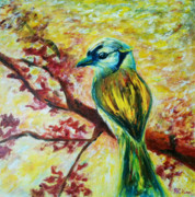 Bird On Tree Painting Prints - Spring bird Print by Rashmi Rao