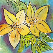 Phthalo Blue Metal Prints - Spring Blooming Yellow Metal Print by Pat Katz