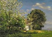 Country Cottage Framed Prints - Spring Blossom Framed Print by Christian Zacho