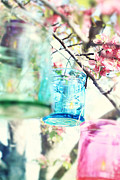 Glass Jar Posters - Spring Blossoms and Candles Poster by Stephanie Frey