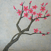 Cherry Blossoms Painting Prints - Spring Blossoms Print by Billinda Brandli DeVillez