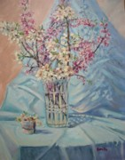 Cherry Blossoms Painting Prints - Spring Blossoms Print by Bonita Waitl
