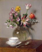 Beautiful Tulips Paintings - Spring Bouquet by Ignace Henri Jean Fantin-Latour