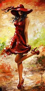 Red Shoes Framed Prints - Spring breeze Framed Print by Emerico Imre Toth