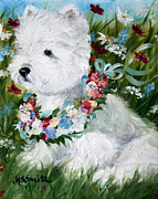 Westie Puppies Prints - Spring Breezes Print by Mary Sparrow Smith