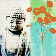 Peaceful Mixed Media Metal Prints - Spring Buddha Metal Print by Linda Woods