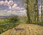 Village In France Posters - Spring Poster by Camille Pissarro