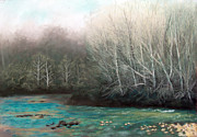 Bare Trees Pastels Prints - Spring Comes to a Bend in the Creek Print by Bernadette Kazmarski